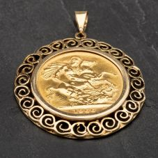 Second Hand 9ct Yellow Gold Coin Keeper Loose Pendant 4166782