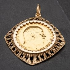 Second Hand 9ct Yellow Gold Coin Keeper Pendant 4166783