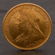 Second Hand 22ct Yellow Gold 1900 Queen Victoria Full Sovereign Coin ELM106947(08/11) 4170041