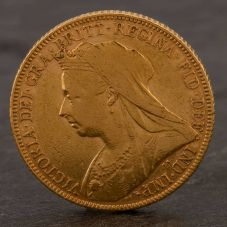 Second Hand 22ct Yellow Gold 1900 Queen Victoria Full Sovereign Coin ELM106947(08/11) 4170053