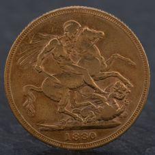 Second Hand Queen Victoria 1880 Britannia Sovereign Coin