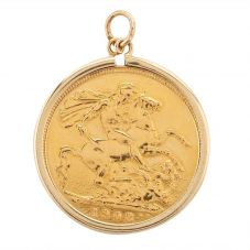 Second Hand 22ct Yellow Gold 1908 Full Sovereign Loose Pendant N516941(445)