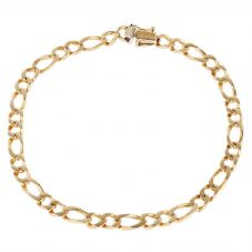 Second Hand 9ct Yellow Gold Mens Figaro Chain Bracelet 4174856