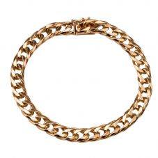 Second Hand 9ct Yellow Gold Mens Double Curb Chain Bracelet