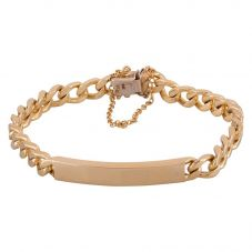 "Second Hand 9ct Yellow Gold 8"" Curb Chain ID Bracelet"