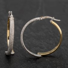 Second Hand 9ct Two Colour Gold Frosted Hoop Earrings