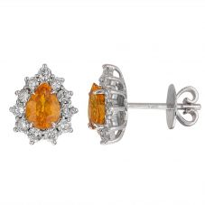Second Hand 9ct White Gold Yellow Sapphire and Diamond Stud Earrings