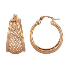 Second Hand 9ct Yellow Gold Mesh Half Hoop Earrings 4183075