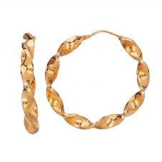 Second Hand 9ct Yellow Gold Large Twisted Hoop Earrings HGM15/03/12