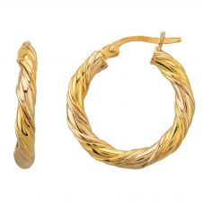 Second Hand Yellow Gold Twisted Hoop Earrings