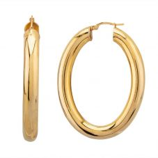 Second Hand 9ct Yellow Gold Large Oval Hoop Earrings HGM19/03/10(12/18)