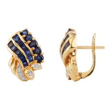 Second Hand 14ct Yellow Gold Diamond and Sapphire Stud Earrings LOT279906/19)