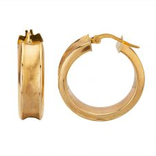 Second Hand 9ct Yellow Gold Satin Hoop Earrings HGM33/03/01(06/19)
