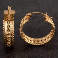 Second Hand 9ct Yellow Gold Patterned Hoop Earrings
