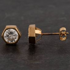 Second Hand 9ct Yellow Gold Cubic Zirconia Stud Earrings