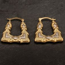 Second Hand 9ct Two Colour Gold Square Shaped Creole Hoop Earrings