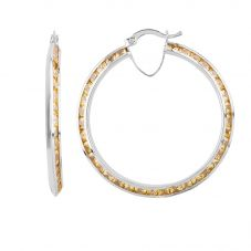 Second Hand 9ct White Gold Cubic Zirconia Hoop Earrings HGM39/03/51(08/19)