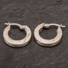 Second Hand 9ct White Gold Satin Hoop Earrings