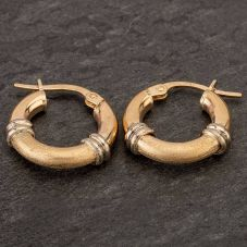 Second Hand 9ct Two Colour Gold Flat Hoop Earrings