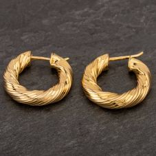Second Hand 9ct Yellow Gold Chunky Twist Hoop Earrings
