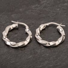Second Hand 14ct White Gold Twisted Hoop Earrings