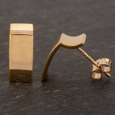 Second Hand 9ct Yellow Gold Oblong Bar Stud Earrings