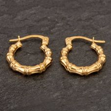 Second Hand 9ct Yellow Gold Bamboo Creole Earrings