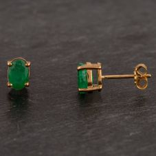 Second Hand 9ct Yellow Gold Oval Emerald Stud Earrings