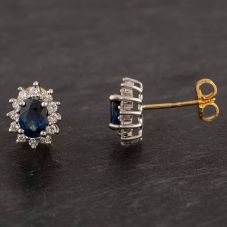 Second Hand 18ct Two Colour Gold Sapphire and Diamond Halo Earrings 4183583