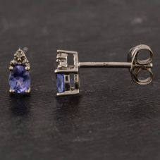 Second Hand 9ct Yellow Gold Tanzanite and Diamond Stud Earrings