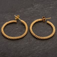 Second Hand 9ct Yellow Gold Twist Hoop Earrings