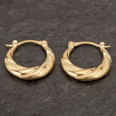 Second Hand 9ct Yellow Gold Fancy Round Creole Earrings