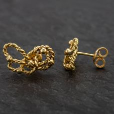 Second Hand 18ct Yellow Gold Fancy Knot Stud Earrings