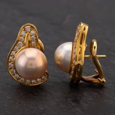 Second Hand 18ct Gold Mabe Pearl & Diamond Stud Earrings Hinged Clip Post Fitment