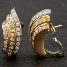 Second Hand 18ct Two Colour Gold Triple Row Diamond Stud Earrings 4183664