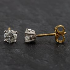 Second Hand 18ct Gold 4 Claw Brilliant Cut Diamond Studs Screw Post Fitment
