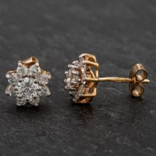Second Hand 9ct Yellow Gold Cubic Zirconia Flower Cluster Stud Earrings