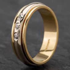 Second Hand 18ct 2 Colour Gold Diamond Set Wedding Ring 4187001