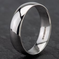 Second Hand 18ct White Gold 6mm D Shape Wedding Ring