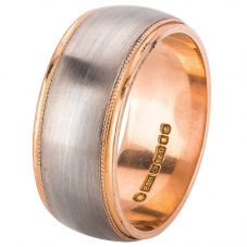Second Hand 18ct Two Colour Gold Mens Plain Wedding Ring