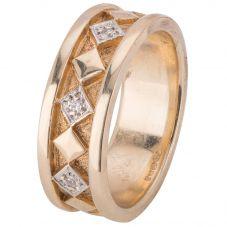 Second Hand 9ct Yellow Gold Diamond Set wedding Ring 4187641