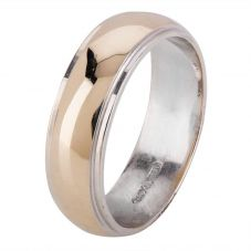Second Hand 18ct Two Colour Gold 6mm Wedding Ring 4187653