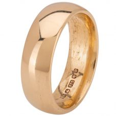 Second Hand 9ct Yellow Gold 6mm Slight Court Wedding Ring