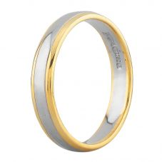 Second Hand 18ct Two Colour Gold 2mm Wedding Ring