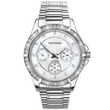Sekonda Ladies Stainless Steel Mother Of Pearl Stone Set Dial Bracelet Watch 4120