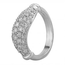 Second Hand 14ct White Gold Diamond Pave Wave Ring