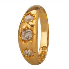 Second Hand 18ct Yellow Gold Old Cut Diamond Trilogy Ring G325425(274)