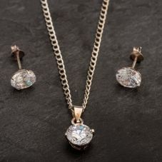 Second Hand Crystal Pendant and Earrings Jewellery Set 4214642