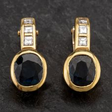 Second Hand 18ct Yellow Gold Diamond & Sapphire Clip On Earrings 4217025