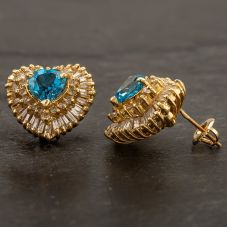 Second Hand 14ct Yellow Gold Diamond and Blue Topaz Heart Studs 4217026